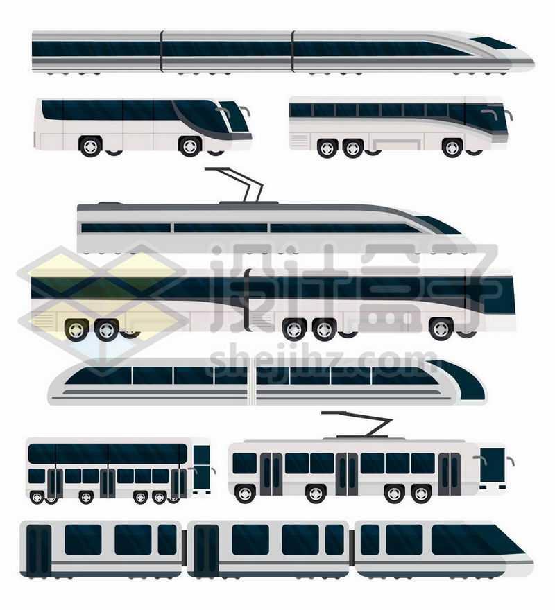 各种高铁公交车大巴车地铁车厢电车等交通工具8413512矢量图片免抠素材
