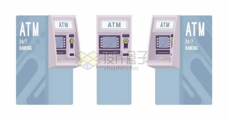 天蓝色的ATM银行取款机三视图7045669矢量图片免抠素材