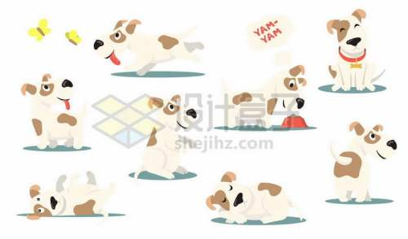8款杰克罗素梗超可爱卡通狗狗宠物狗4421963矢量图片免抠素材