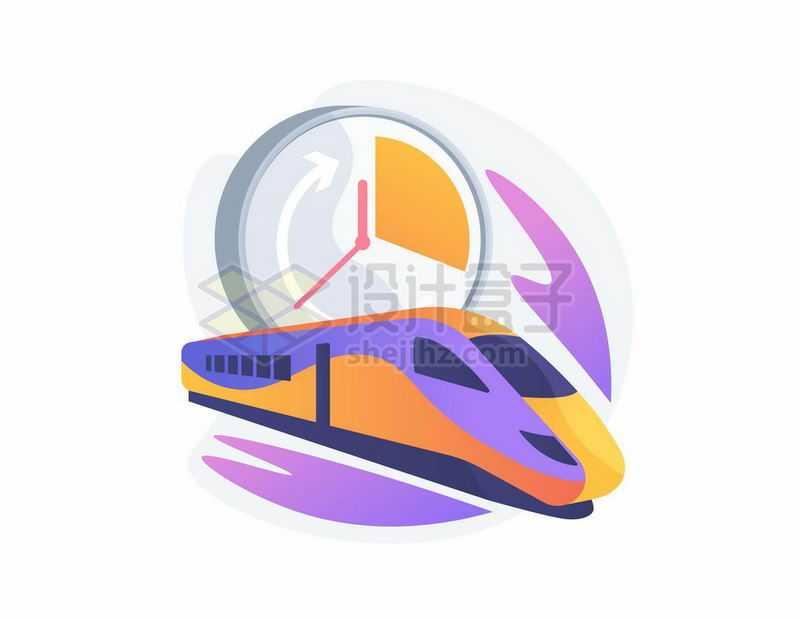 高铁和时钟象征了高铁的时间和准时插画5002533矢量图片免抠素材