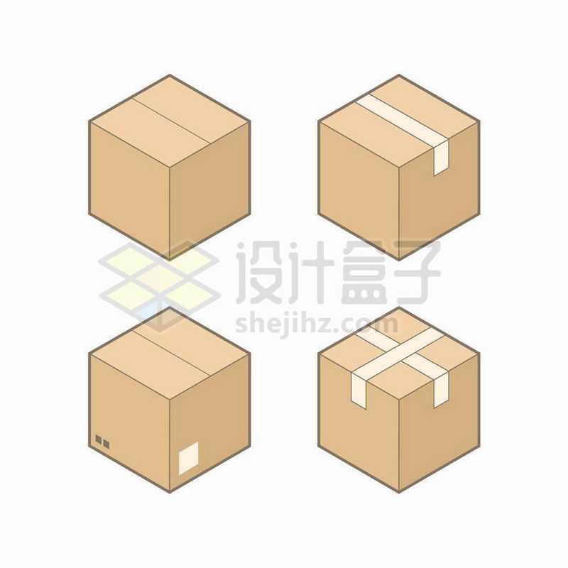 4款褐色包装箱纸盒子5270458矢量图片免抠素材