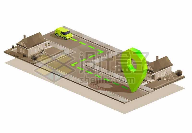 2.5D风格汽车通过导航到房子9538363矢量图片免抠素材