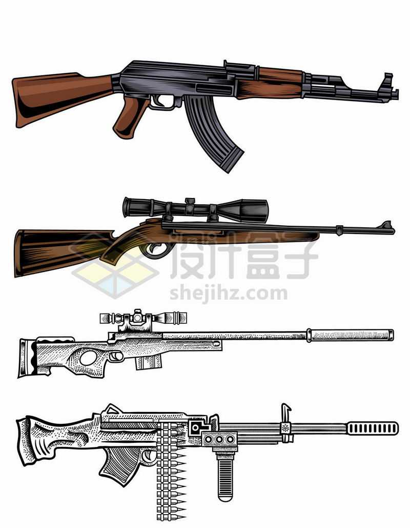 AK47自动步枪狙击枪和机枪等4种武器装备5125339矢量图片免抠素材