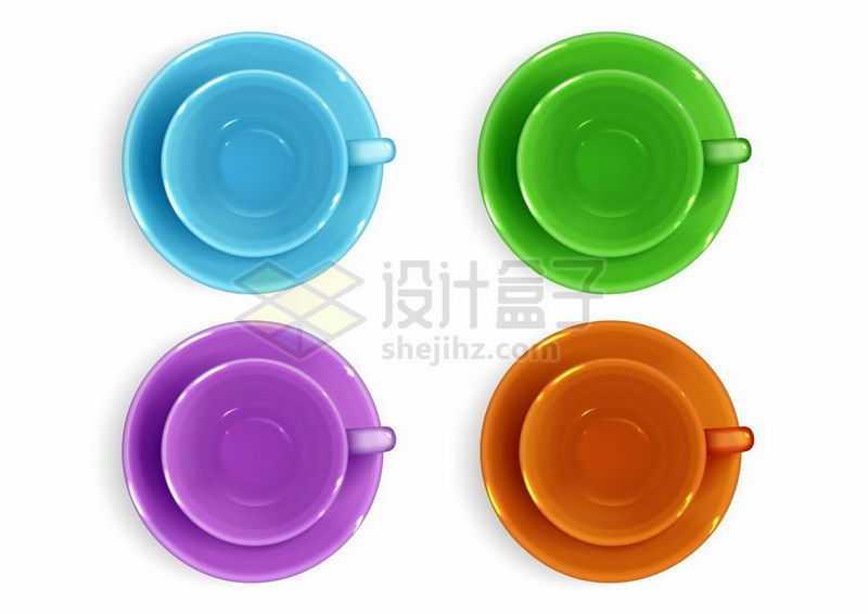 4种颜色的咖啡杯陶瓷杯俯视图6468703矢量图片免抠素材