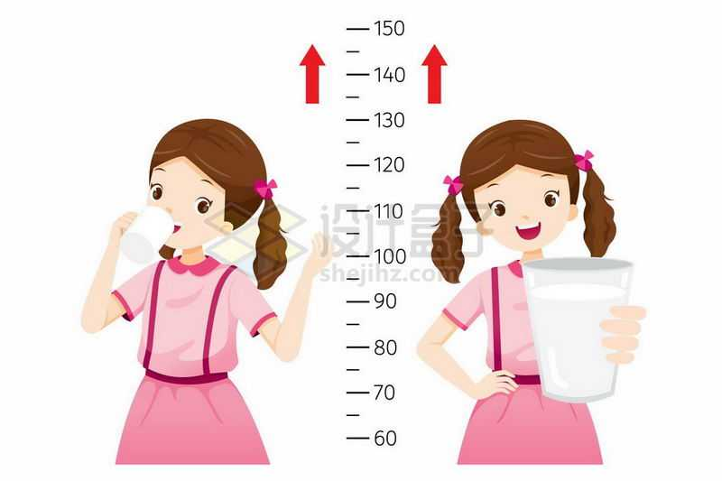 卡通女孩喝牛奶长个子测量身高7315129矢量图片免抠素材