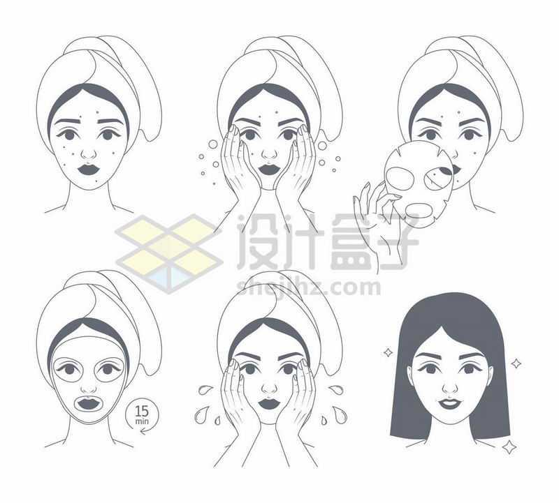 手绘线条风格美女洁面洗脸敷面膜示意图7732854矢量图片免抠素材