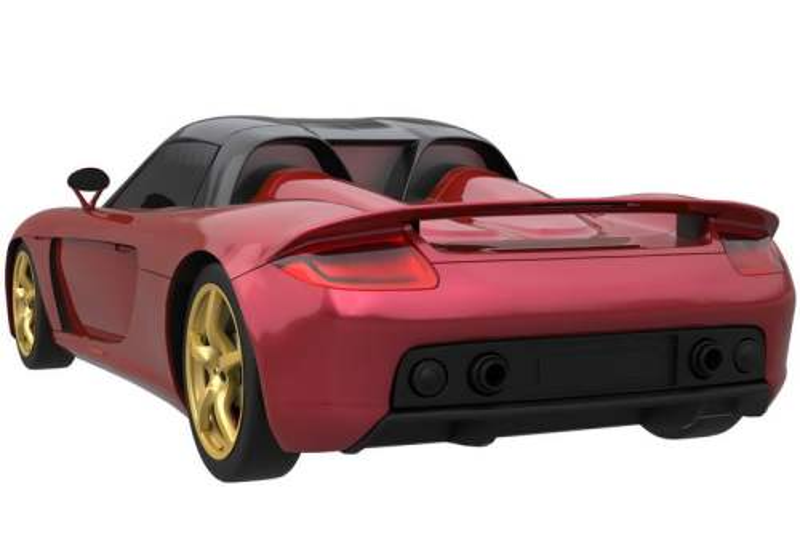 一辆红色的保時捷Carrera GT超级跑车模型后视图3252525png图片免抠素材