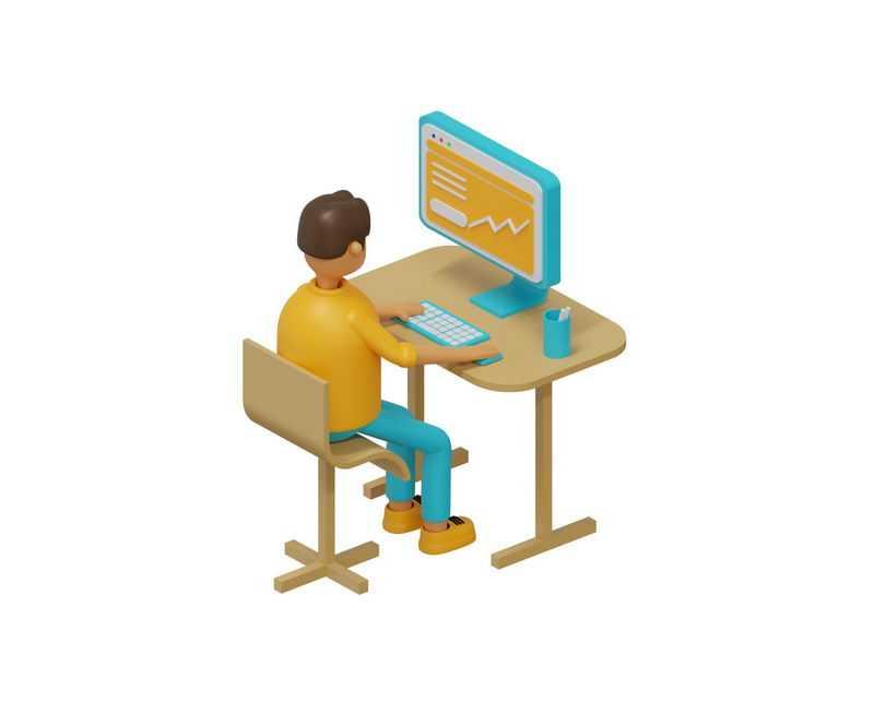 3D风格卡通男孩正在操作电脑1562549免抠图片素材