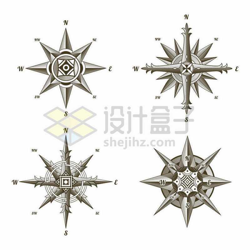 4款复古花纹风格的指南针指针图案4853013矢量图片免抠素材
