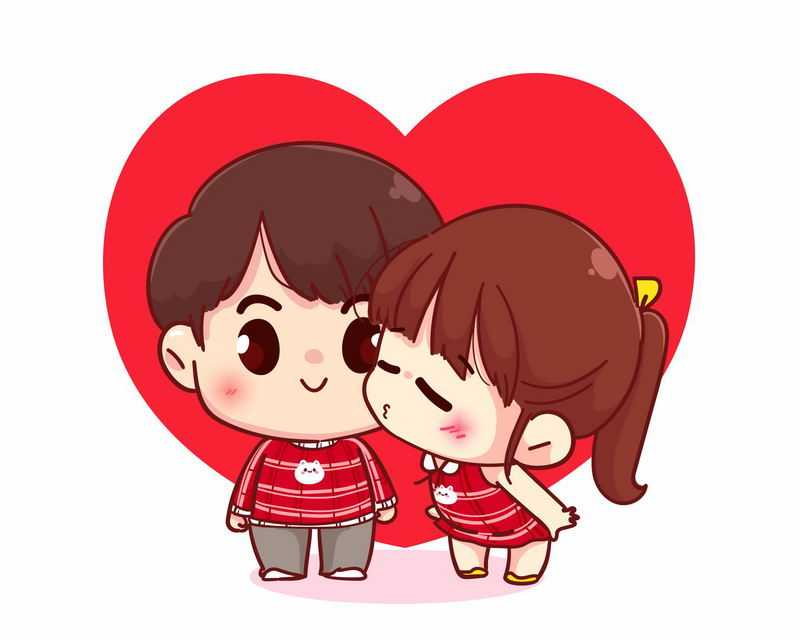 红心背景的卡通女孩亲吻男孩秀恩爱的小情侣5789733图片免抠素材