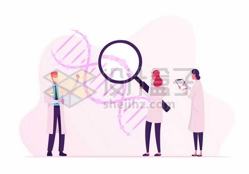 扁平插画风格医生正在检查DNA基因工程8770624矢量图片免抠素材