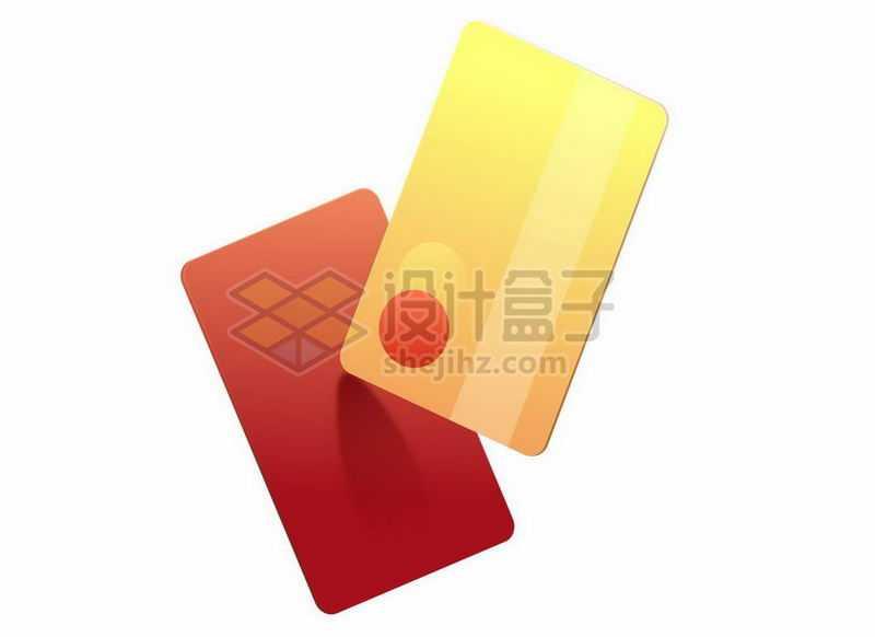 红色黄色的卡通银行卡信用卡7660433矢量图片免抠素材