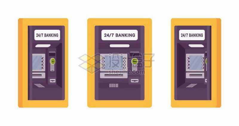 黄色的ATM银行取款机操作台三视图4754295矢量图片免抠素材