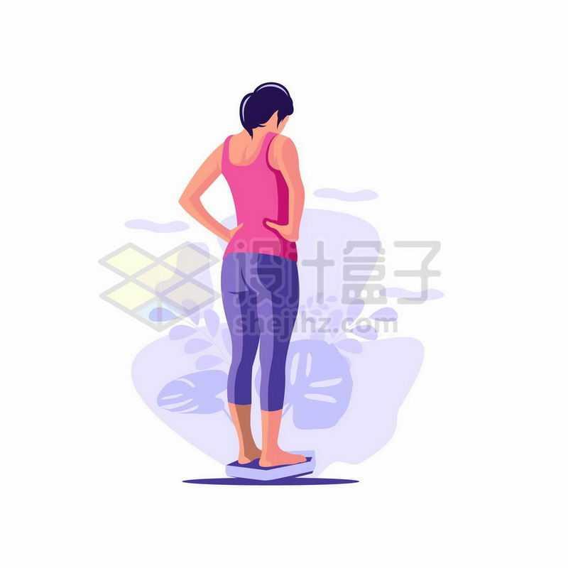 刚刚锻炼完的女人站在体重计上看体重6117786矢量图片免抠素材