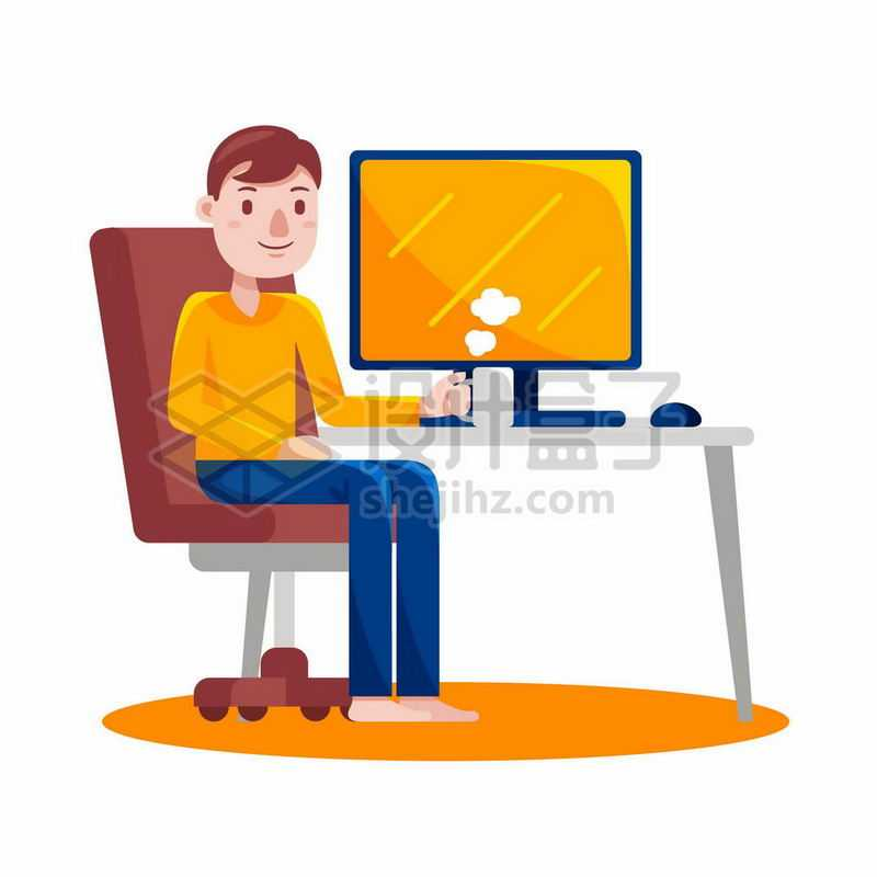 卡通男人坐在电脑前休息喝咖啡1410210矢量图片免抠素材