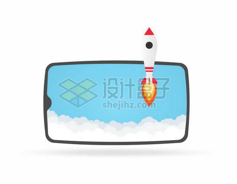 卡通手机上的云朵与小火箭4010900矢量图片免抠素材