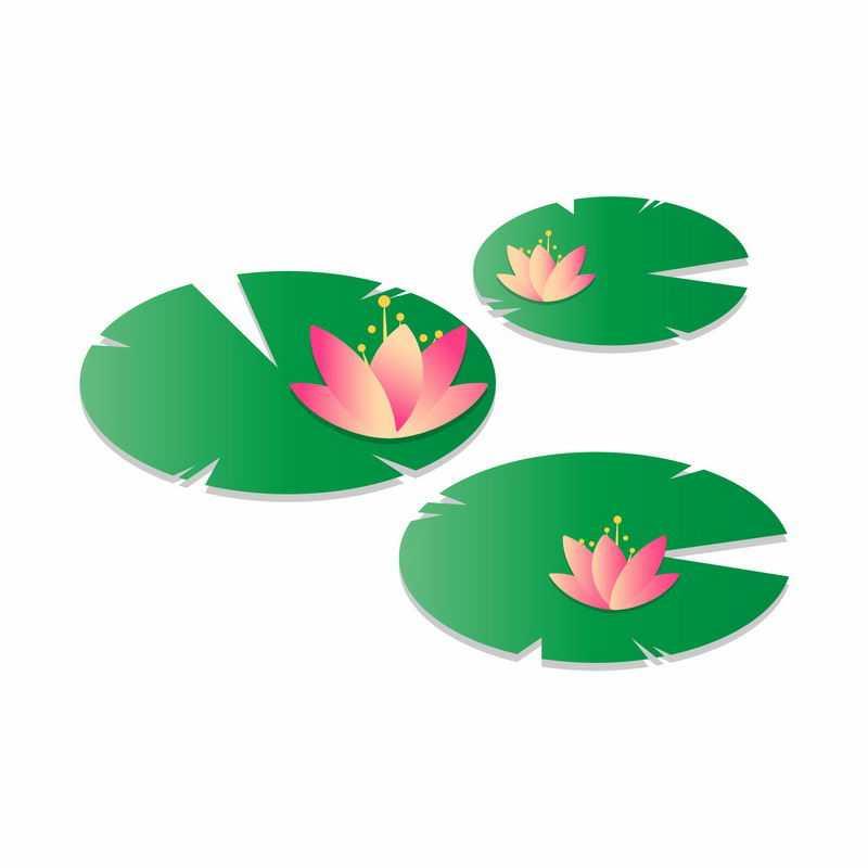 粉红色莲花和绿色莲叶水生植物简约插画4955756矢量图片免抠素材