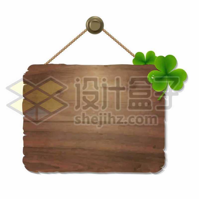 三叶草装饰的木牌子2405457矢量图片免抠素材