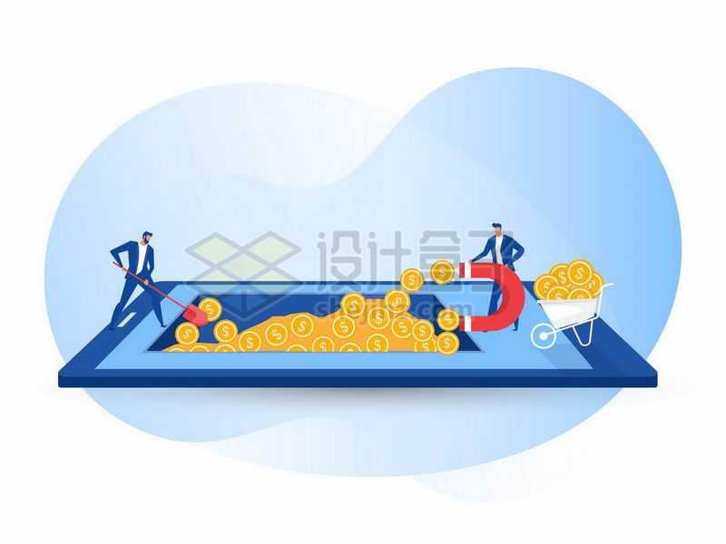 两个商务人士正在手机上挖矿吸取资金1324879矢量图片免抠素材