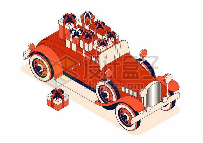 装满礼物的红色老爷车复古汽车插画3016786矢量图片免抠素材