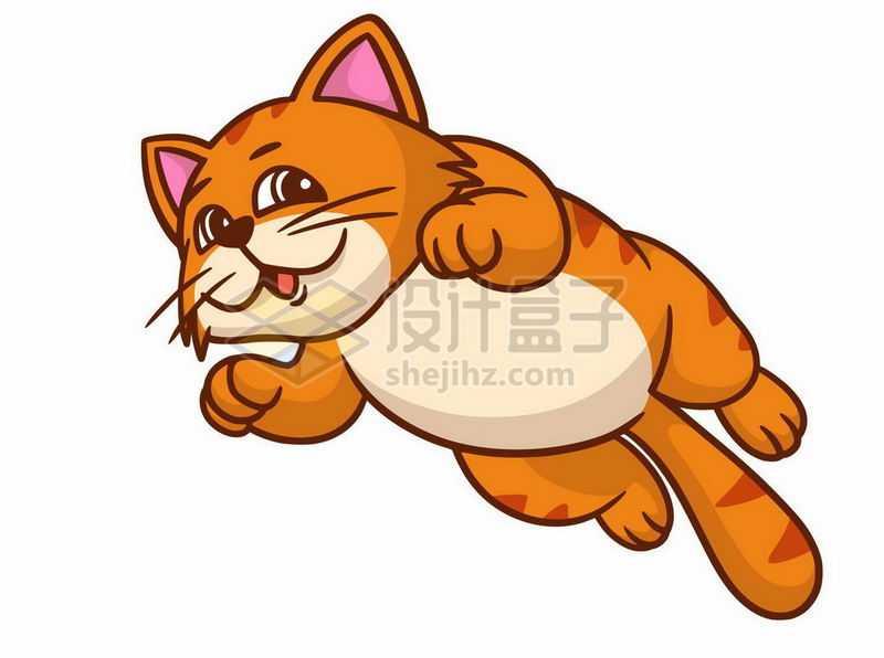 卡通猫咪橘猫狸花猫飞跃而过6423914矢量图片免抠素材