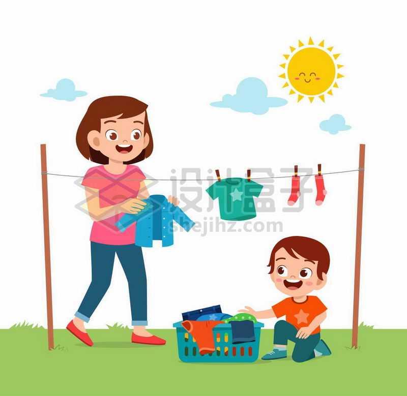 卡通妈妈和小男孩在太阳底下的晾衣绳上晾晒衣服9321921矢量图片免抠素材