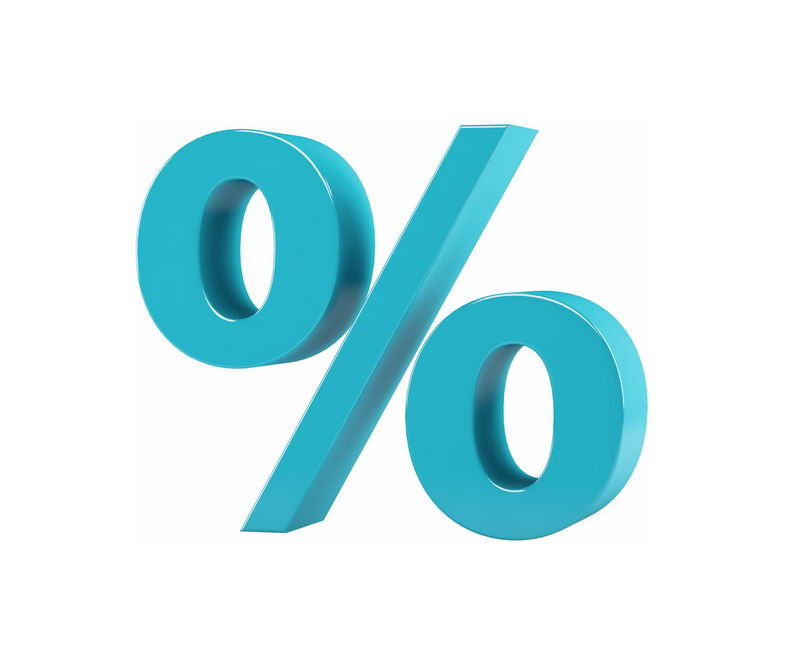 3D立体风格蓝色百分比%符号7351499免抠图片素材 字体素材-第1张
