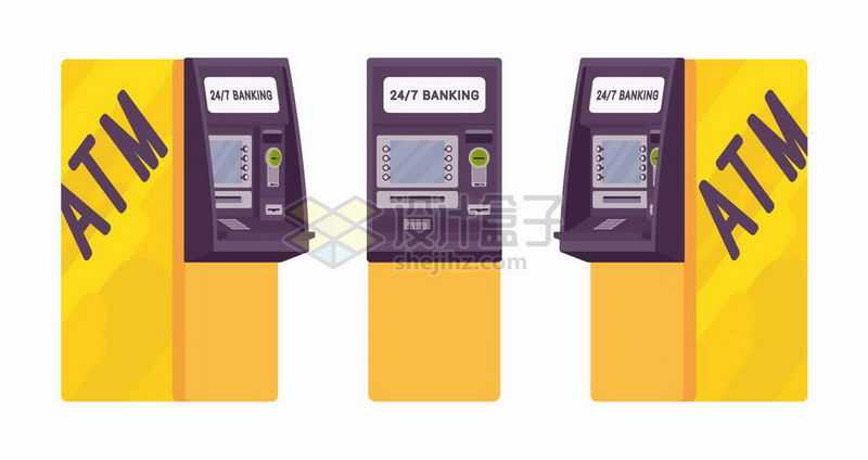 黄色的ATM银行取款机三视图5426679矢量图片免抠素材