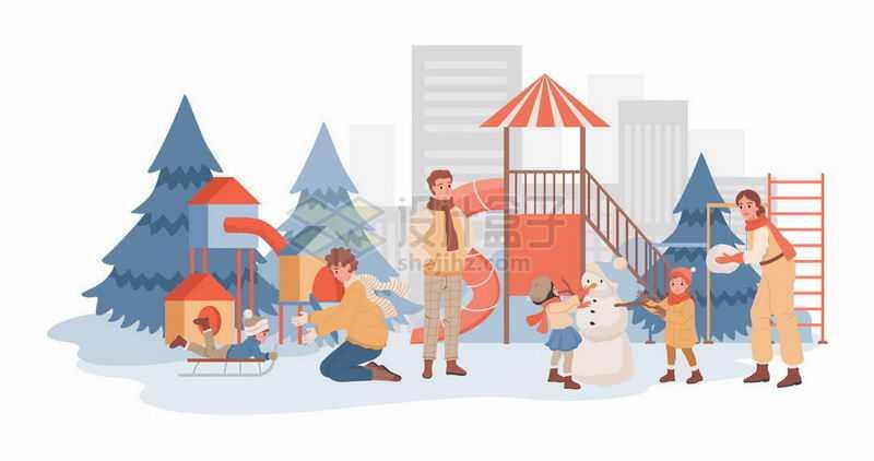 冬天里卡通爸爸妈妈带着女儿在游乐场玩耍亲子关系1570921矢量图片免抠素材