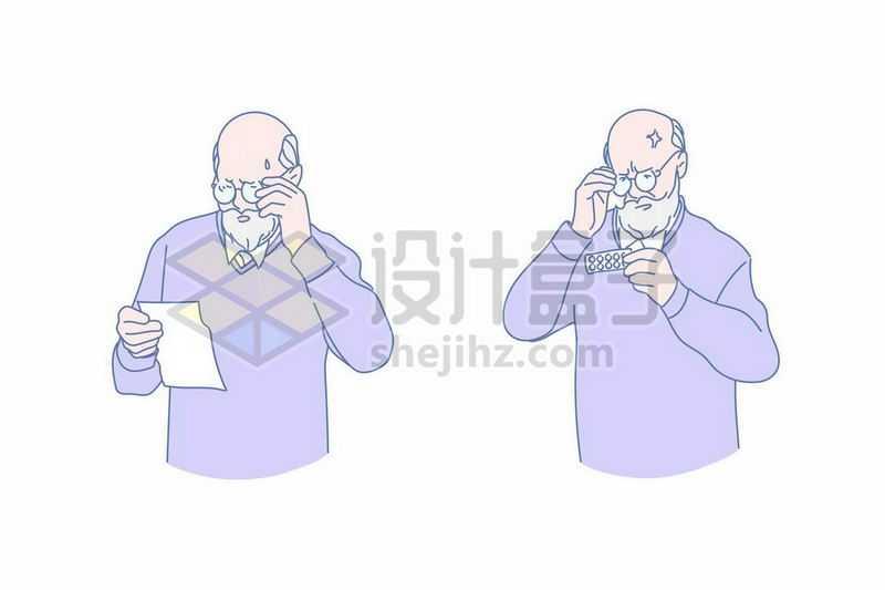 卡通老爷爷正在看药品说明书1638128矢量图片免抠素材