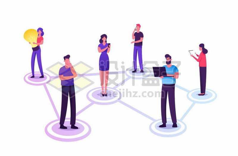 扁平插画风格人与人之间的人际关系网络5827292矢量图片免抠素材