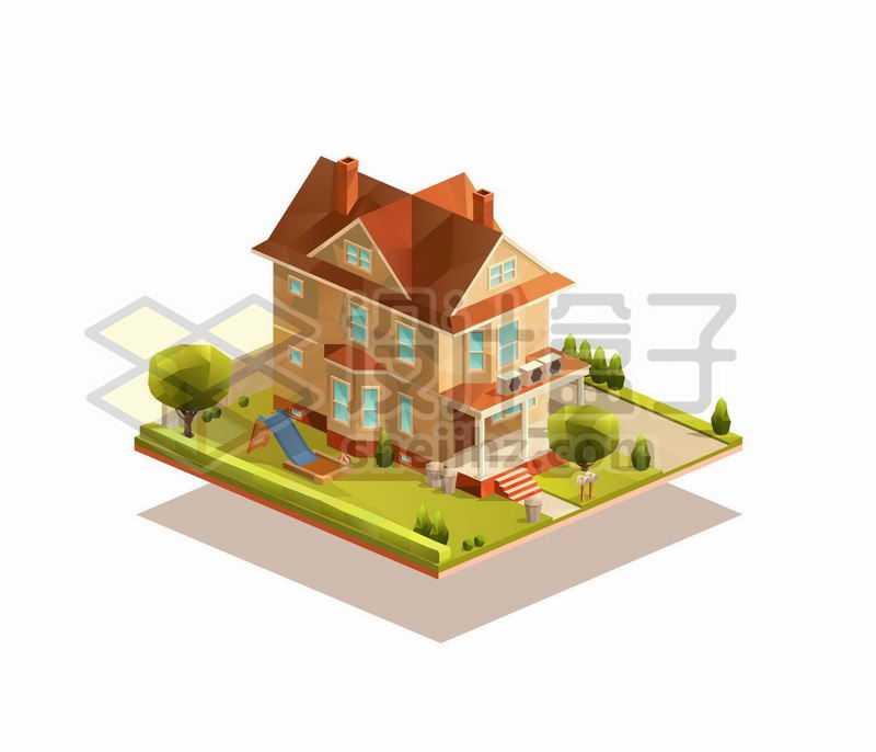 2.5D风格三层别墅和院子1110743矢量图片免抠素材