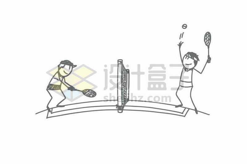 打网球的卡通小人儿手绘涂鸦插画1818055矢量图片免抠素材