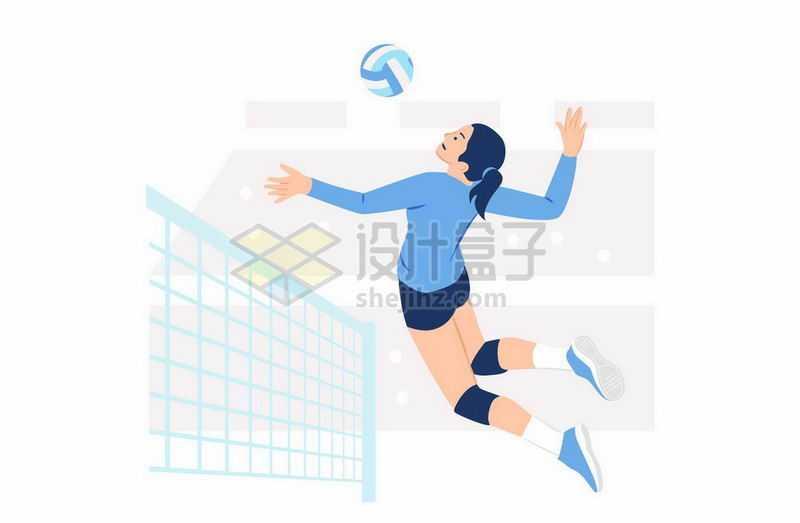 蓝衣服的女排运动员正在打排球3541486矢量图片免抠素材