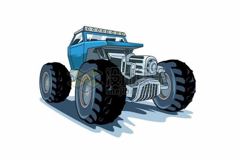 动感漫画风格的蓝色大脚车越野车7856503矢量图片免抠素材