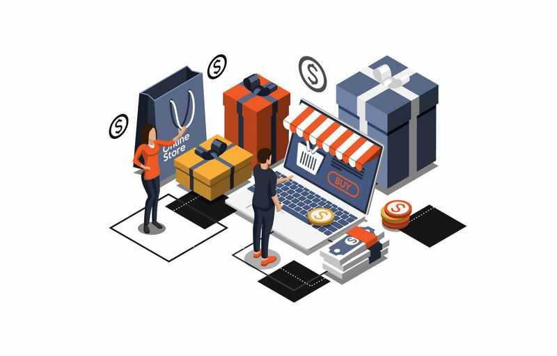 2.5D风格男人和女人在电脑上通过网上商城购物7103806图片免抠素材