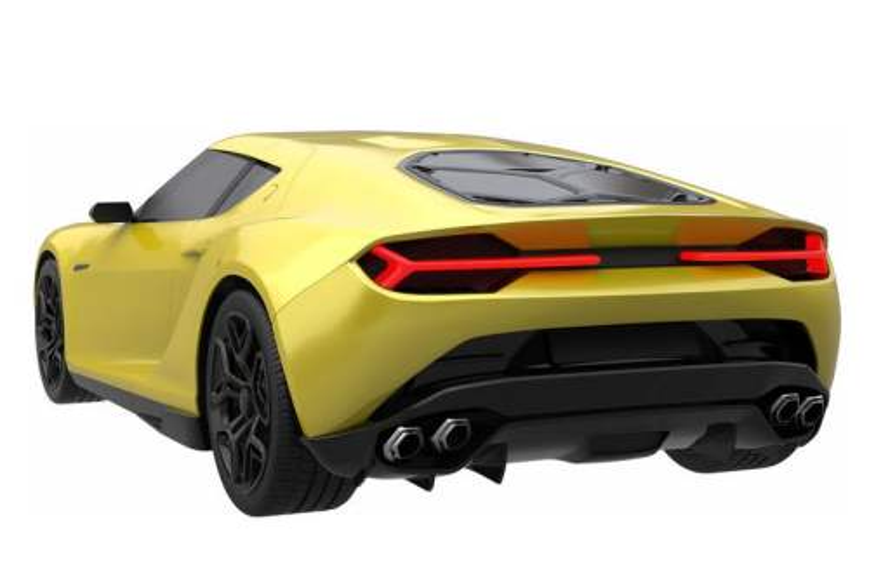 一辆黄色的超级跑车模型后视图8705176png图片免抠素材