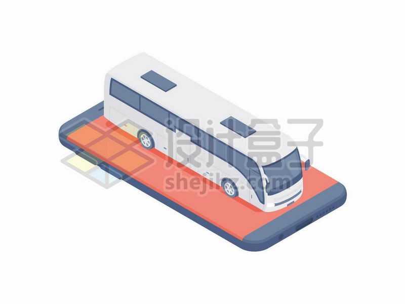 2.5D风格手机上的大客车大巴车象征了客运网上订车票APP4360021矢量图片免抠素材