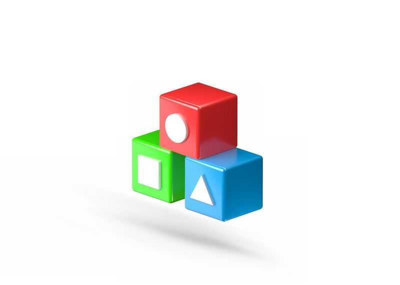 3D风格彩色几何学习道具方块立方体8566565免抠图片素材