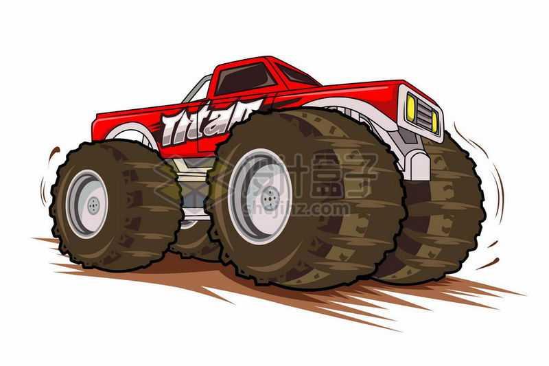 动感漫画风格的红色大脚车越野车5512611矢量图片免抠素材