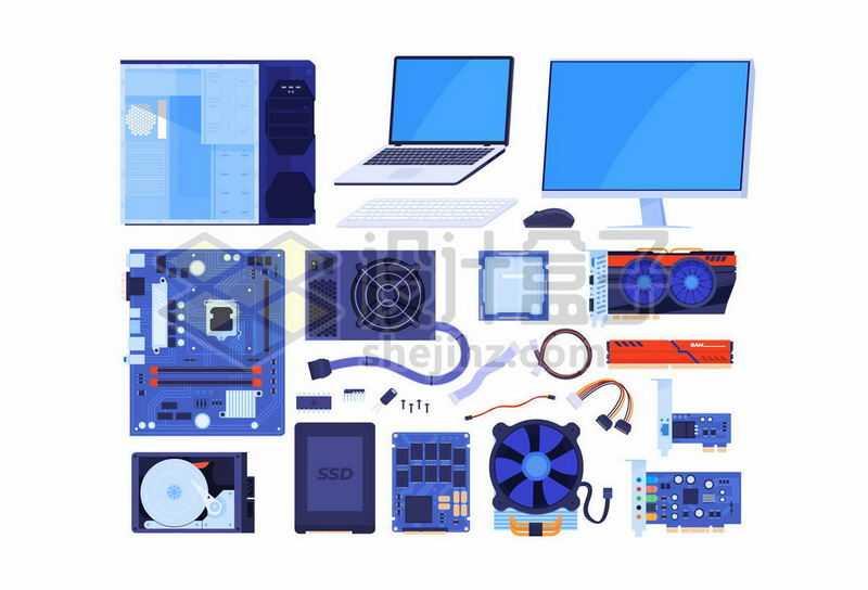 台式机电脑主机机箱显示器主板电源CPU硬盘显卡声卡笔记本电脑等6296542矢量图片免抠素材
