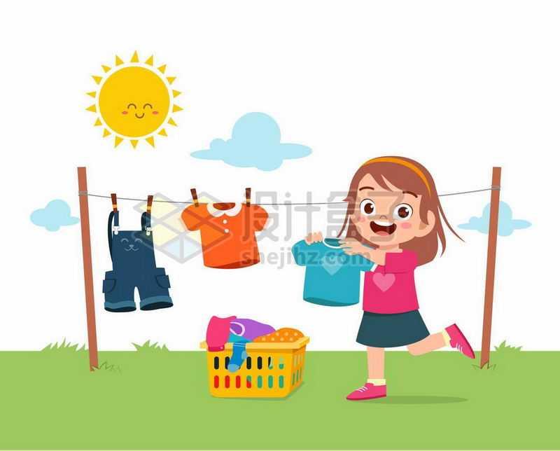 卡通女孩在太阳底下的晾衣绳上晾晒衣服9216346矢量图片免抠素材