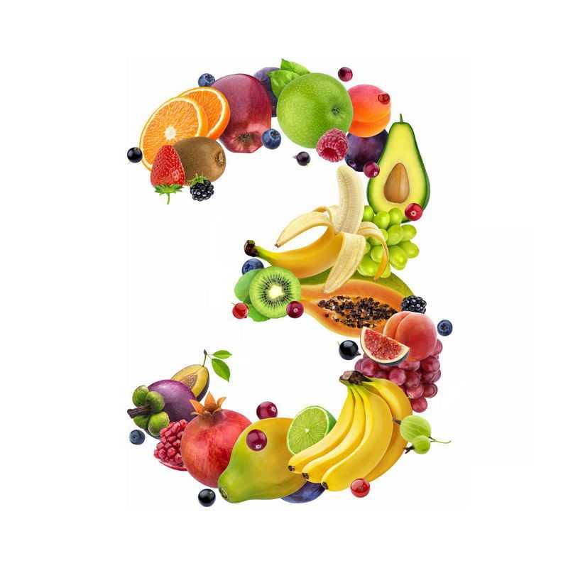 水果组成的数字3橙子草莓猕猴桃苹果树莓木瓜石榴香蕉等9400480免抠图片素材
