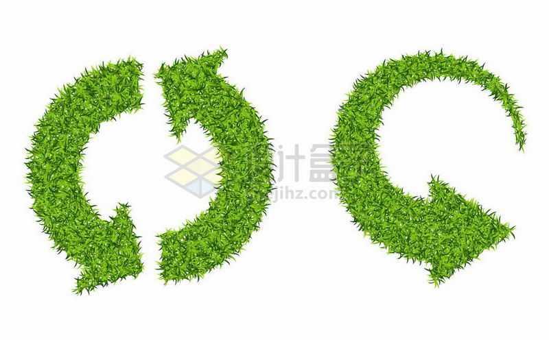 2款绿色草坪草地组成的循环箭头2577077矢量图片免抠素材