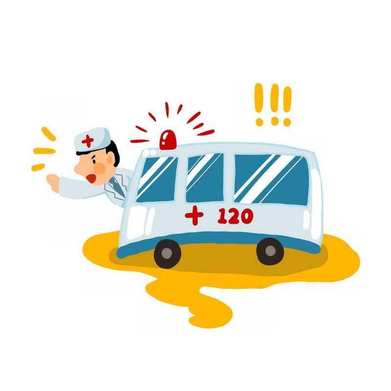 卡通救护车120急救车6100140免抠图片素材