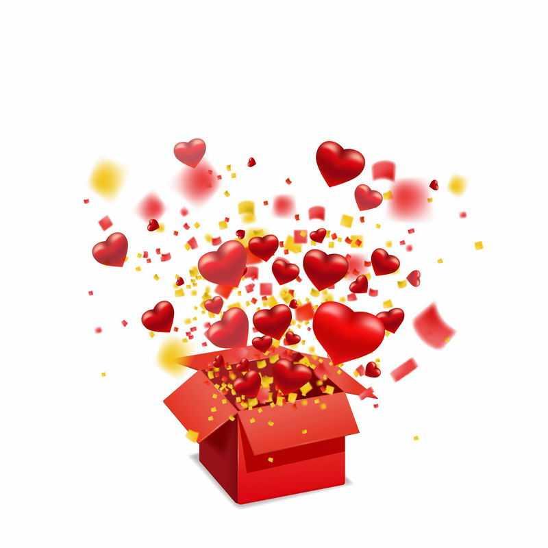 打开的红色礼物盒箱子中飞出的红心4851994图片免抠素材