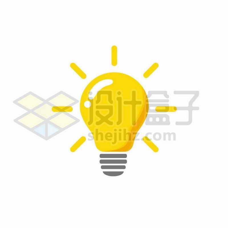 黄色发光的卡通电灯泡图案5922888图片免抠素材