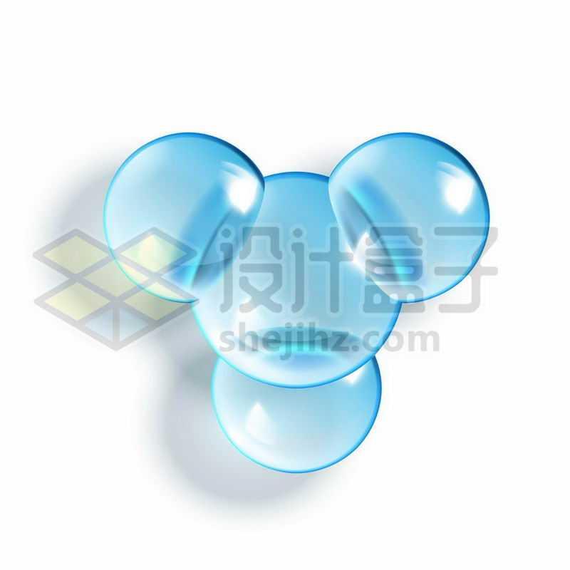3D立体风格蓝色玻璃球水晶球组成的分子结构2745961图片免抠素材