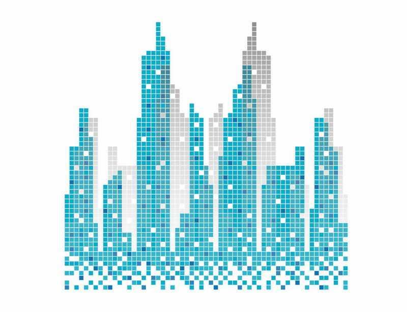 蓝色小方块组成的城市天际线夜景建筑灯光效果1704837图片免抠素材