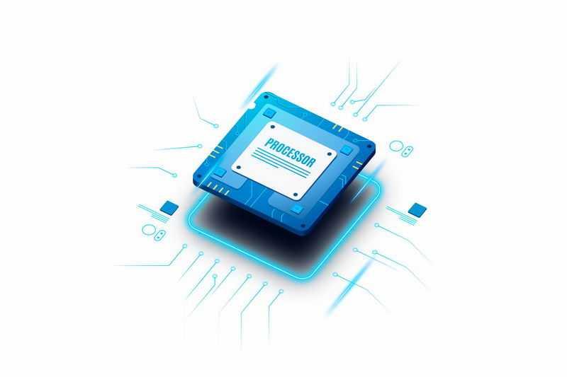 科技发光线条电路风格蓝色处理器CPU5676211矢量图片免抠素材